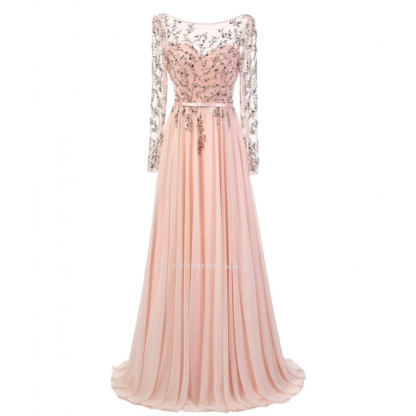 2018 New Dress Floor Length Pink Chiffon Backless Appliques Long Sleeve Prom Dress Prom Dresses