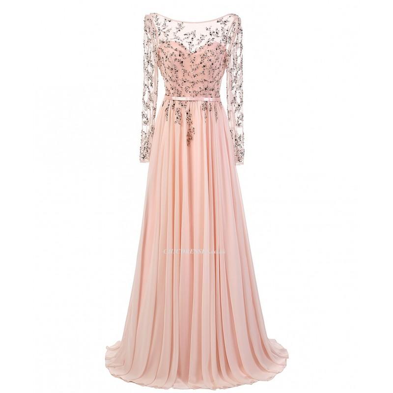 2018 New Dress Floor Length Pink Chiffon Backless Appliques Long ...
