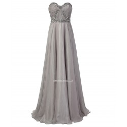 2018 New Dress Floor Length Strapless A Line Grey Chiffon Prom Dresses With Beading