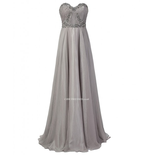 2018 New Dress Floor Length Strapless A-line Grey Chiffon Prom Dresses With Beading Prom Dresses