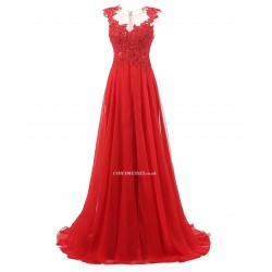 2018 New Elegant Red Lace Prom Dresses Lace Up Backless Chiffon Long Formal Dress