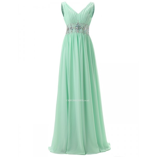 2018 New A-Line V-neck Floor Length Mint Prom/Evening Dress With Beading Prom Dresses