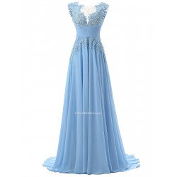 2018 New Tailing A Line Scoop Sweep Train Chiffon Sleeveless Light Blue Prom Evening Dress With Appliques
