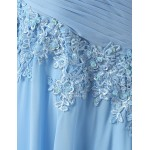 2018 New Tailing A-line Scoop Sweep Train Chiffon Sleeveless Light Blue Prom/Evening Dress With Appliques Prom Dresses
