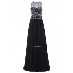 2018 New Floor Length A Line Cowl Neck Navy Blue Prom Evening Dress With Beading