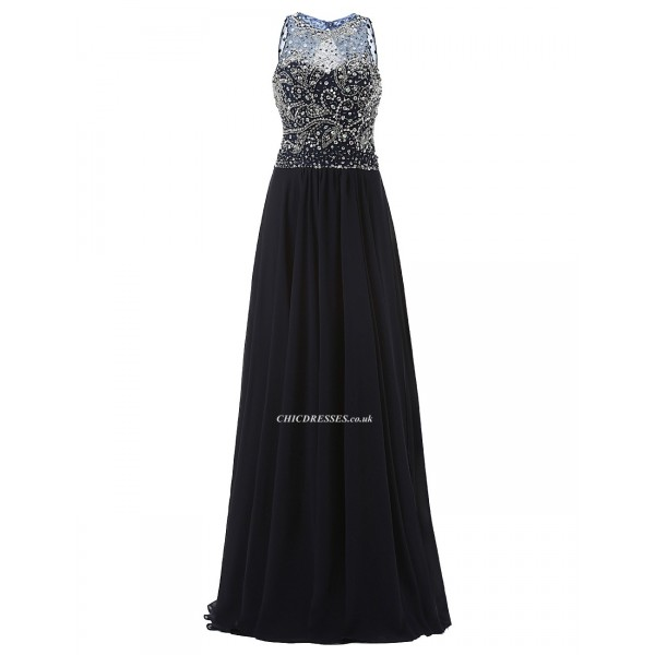 2018 New Floor Length A-line Cowl Neck Navy Blue Prom/Evening Dress With Beading Prom Dresses 2017