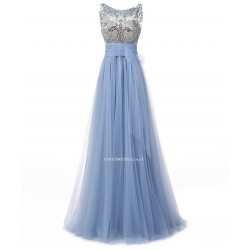 2018 New Floor Length A-line Scoop Blue Tulle Prom/Evening Dress With Beading