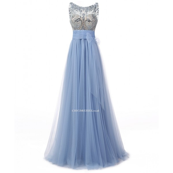 2018 New Floor Length A-line Scoop Blue Tulle Prom/Evening Dress With Beading Prom Dresses 2017