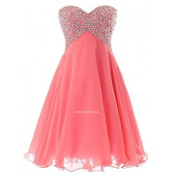 2018 New Short Tulle Cocktail Homecoming Gowns Lace Up Pink Prom Dress With Beading