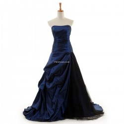 Simple Floor-Length Navy Evening Dress Backless Strapless Sleeveless Party Dress