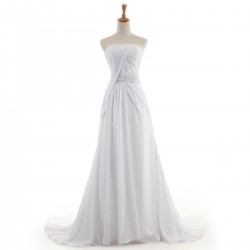 Elegant Long White Chiffon Formal Dress Backless Strapless Sleeveless Prom Dress