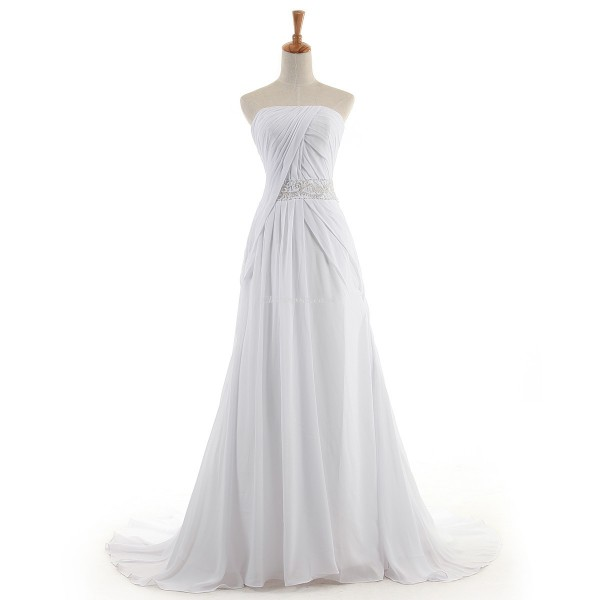Elegant Long White Chiffon Formal Dress Backless Strapless Sleeveless Prom Dress New Arrival