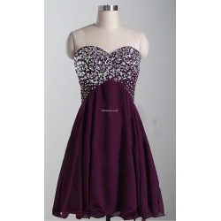 Simple Shoet Burgundy Evening Dress Lace Up Strapless With Sequins Party Dress