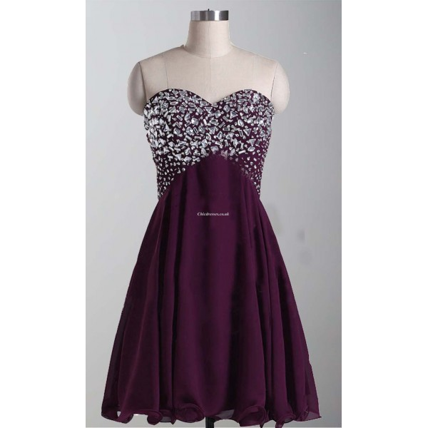 Simple Shoet Burgundy Evening Dress Lace Up Strapless With Sequins Party Dress New Arrival