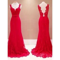Elegant Long Red Mermaid Traditional Dress Open Back Straps Sleeveless Party Dress