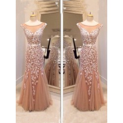 Elegant Floor-Length Mermaid With Textile Pinting Ball Gown  Dress
