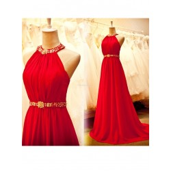 Elegant Floor-Length Red Chiffon Evening Dress Open Back Halter Sleeveless Party Dress