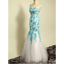 Elegant Floor-Length White Chiffon Traditional Dress Blue With Lack Up Back Party Dress