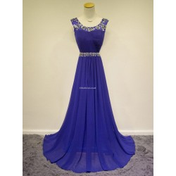 Elegant Floor Length Blue With Beading Straps Sleeveless Evening Dress Party Dress