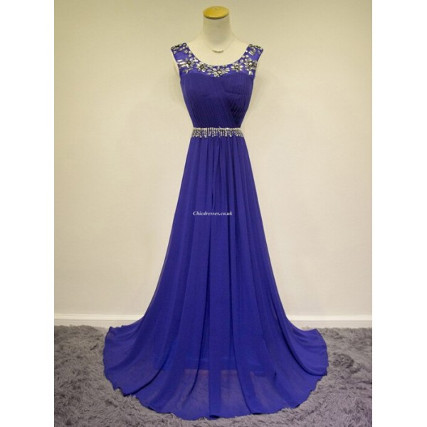 Elegant Floor-Length Blue With Beading Straps Sleeveless Evening Dress/Party Dress New Arrival