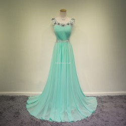 Elegant Long Chiffon With V Back Straps Beading Party Dress Evening Dress