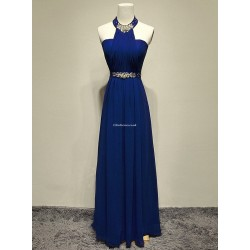 Elegant Floor-Length Blue Chiffon Evening Dress A-Back Halter With Beading Sleeveless Formal Dress