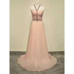 Elegant Floor-Length Pink Prom Dress Zipper Open Back Halter With Beading Sleeveless Party Dress