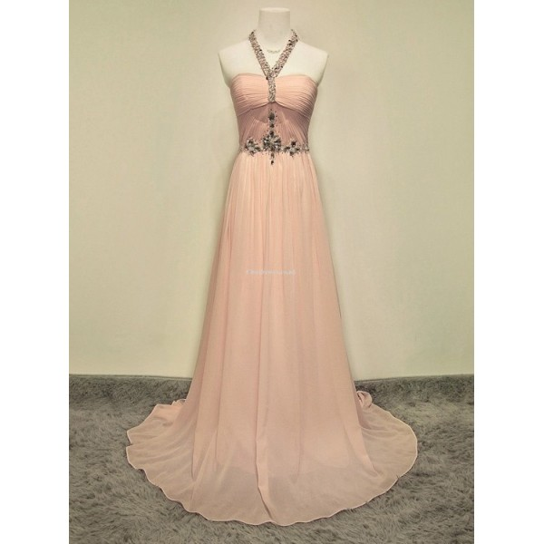 Elegant Floor-Length Pink Prom Dress Zipper Open Back Halter With Beading Sleeveless Party Dress New Arrival