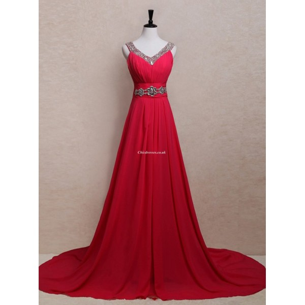 Simple Long Red With Beading Formal Dress Zipper Back V-Neck Sleeveless Party Dress