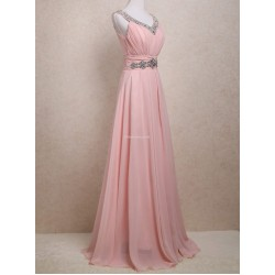 Elegant Floor Length Chiffon Evening Dress V Neck With Beading Sleeveless Prom Dress
