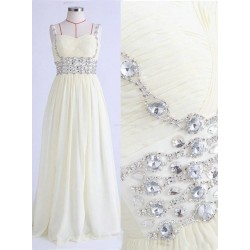 Elegant Floor-Length  Chiffon Formal Dress Backless Spaghetti Straps With Beading Sleeveless Party Dress