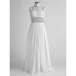 Elegant Floor-Length White Chiffon Formal Dress Backless Spaghetti Straps With Beading Sleeveless Prom Dress