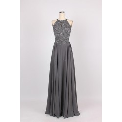 Simple Floor-Length Party Dress Spaghetti Straps With Beading Sleeveless Formal Dress