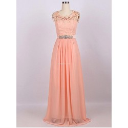 Elegant Floor Length Pink Chiifon With Beading Evening Dress Zipper Back With Lace Prom Dress
