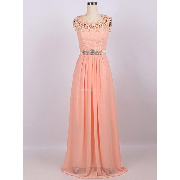 Elegant Floor Length Pink Chiifon With Beading Evening Dress Zipper Back With Lace Prom Dress New Arrival