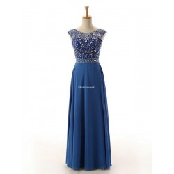 Sexy Floor Length Blue Chiffon Brideamaid Dress Open Back With Beading Party Dress