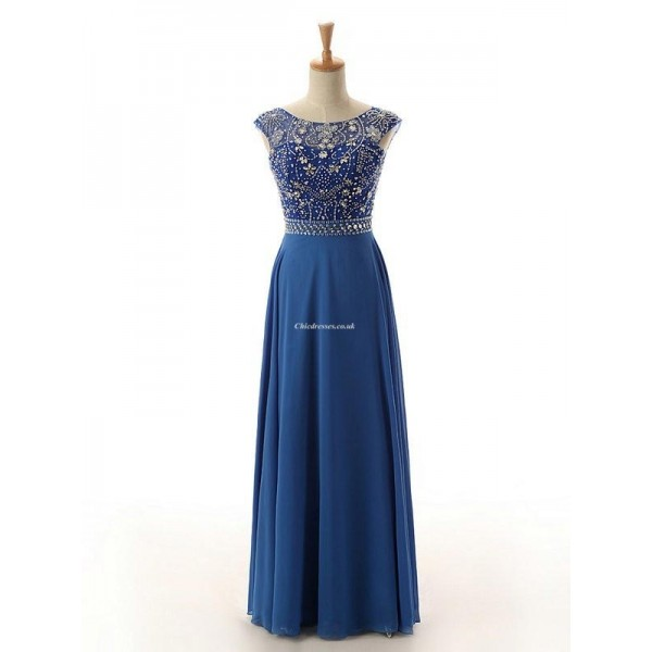 Sexy Floor Length Blue Chiffon Brideamaid Dress Open Back With Beading Party Dress New Arrival