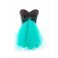 Mini Princess Lace-Up Column Strapless Evening DressFormal Dress