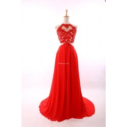 Sexy Long Red Dress Criss Cross Straps With Lace Bridesmaid Dress