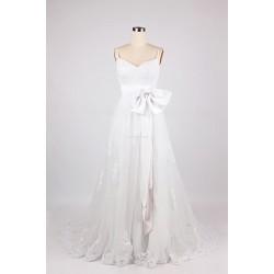 Elegant Long White Chiffon Waist Band Bow Formal Dress Zipper Back Spaghetti Straps Prom Dress