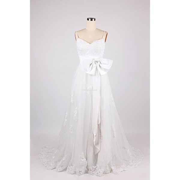 Elegant Long White Chiffon Waist Band Bow Formal Dress Zipper Back Spaghetti Straps Prom Dress New Arrival