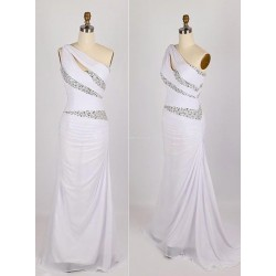 Floor Length With Beading Zipper Back One Shoulder Formal Dress