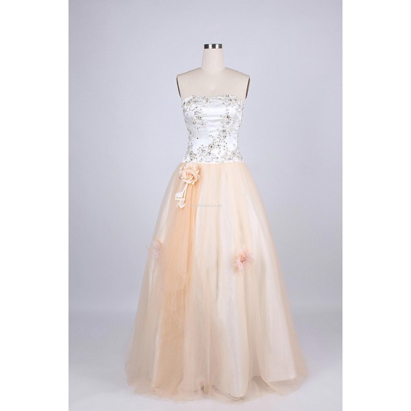 Floor Length Lace Up Column Strapless With Beading Evening Dress New Arrival