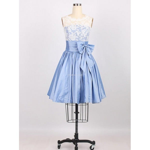 New Knee Length With Lace Waist Band Bow Bridesmid Dress New Arrival