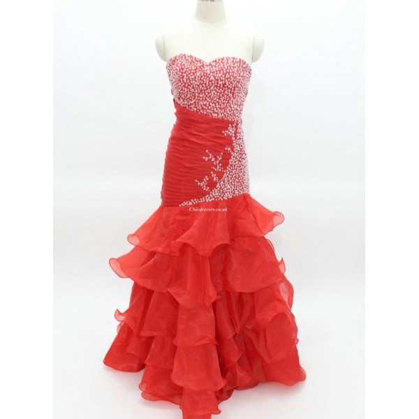 Sexy Red Slim With Beading Ruffles Column Strapless Formal Dress New Arrival