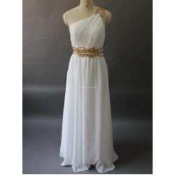 Elegant Floor Length White Chiffon With Beading Formal Dress