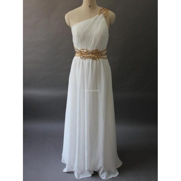 Elegant Floor Length White Chiffon With Beading Formal Dress New Arrival