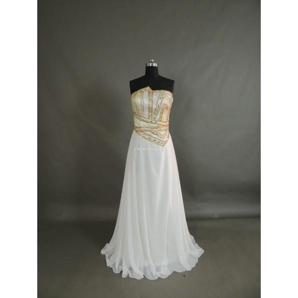 Simple Floor Length White Chiffon Zipper Back Column Strapless Evening Dress New Arrival