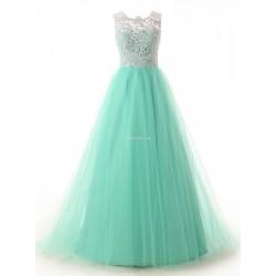 Elegant Floor Length Green Button Lace Back Bridesmaid Dress
