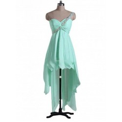 Asymmetrical One Shoulder With Beading Lace Up Green Party Dress